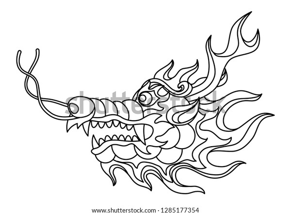 Chinese dragon outline head seamless ... | Stock vector ...