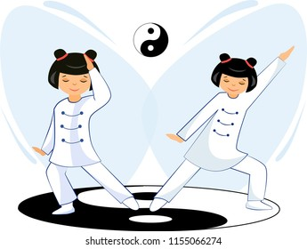 Illustration of a Chinese girl doing exercises tai Chi and qigong