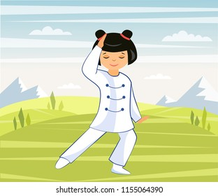 Illustration of a Chinese girl doing Taichi and qigong exercises in nature