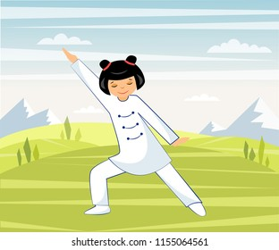 Illustration of a Chinese girl doing Taichi and qigong exercises in nature in the mountains