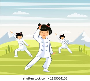 Illustration of a Chinese girl he does tai Chi and qigong in a mountain valley