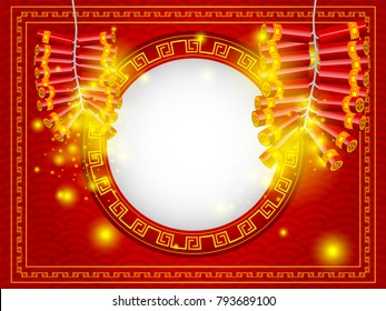 illustration of chinese happy new year firecracker with copy space at center on red background