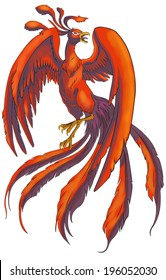 Illustration of Chinese Phoenix bird from China mythical traditional legendary monster beast in isolated background, create by vector
