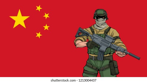 Illustration of Chinese soldier with the flag of China in the background.