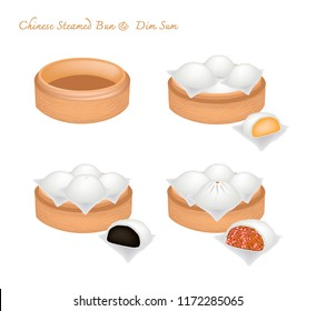 Illustration of Chinese Steamed Bun Stuffed With Sweet Black Bean, Custard Cream and Barbecued Minced Pork in Basket or Bamboo Steamer.