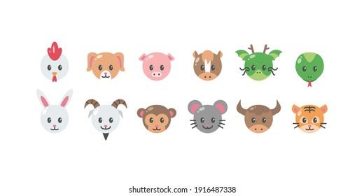 Illustration of Chinese Zodiac Head Flat Icon Set - Vector Illustration