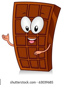 Illustration of a Chocolate Bar Character Gesturing Something with His Hands