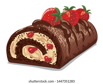 illustration of the chocolate roll cake with a strawberry