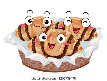 Illustration of a Chocolate Rugelach Mascots on Basket