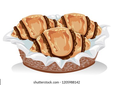 Illustration of Chocolate Rugelach Pastry on a Basket