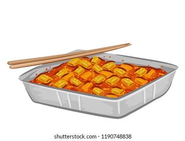 Illustration of Chopsticks and a Pan of Tteokbokki, a Spicy Korean Rice Cake Dish