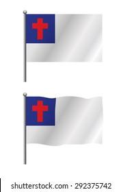 An illustration of the Christian faith flag on a flag pole both still and waving. Vector EPS 10.