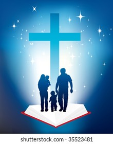 illustration of christian family and bible and cross