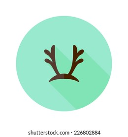 Illustration of Christmas Antlers Flat Icon over Mint
