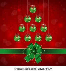 Illustration of Christmas background with balls and bows in green and red colors