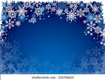 Illustration of Christmas background with blue and white snowflakes in various styles