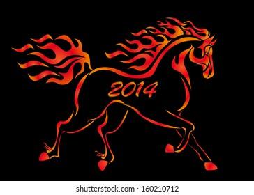 illustration Christmas burning horse for postcards on the black