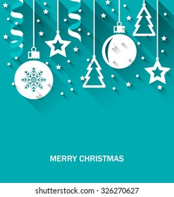 Illustration Christmas Card with Fir, Balls, Stars, Streamer, Trendy Flat Style with Long Shadows - Vector
