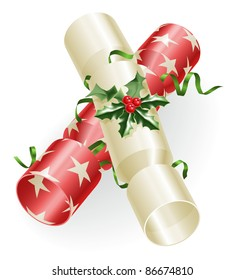 An illustration of Christmas crackers with holly and ribbons