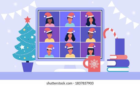 Illustration of Christmas and happy new year theme. Illustration of conference video call, video call to a friend, study online, business meeting. Colorful flat vector illustration
