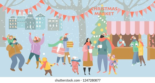Illustration of a Christmas market with happy people drinking mulled wine and having a rest with family. City square on a cold December day