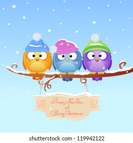 illustration for Christmas and New Year fun three birds sitting on a branch