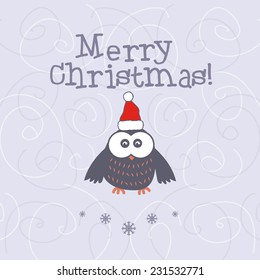 Illustration Christmas with owl. Vector