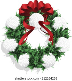 Illustration of a Christmas sports wreath made of holly, red ribbon and golf balls.