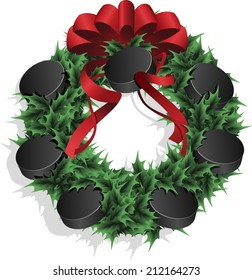 Illustration of a Christmas sports wreath made of holly, red ribbon and ice hockey pucks.