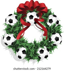 Illustration of a Christmas sports wreath made of holly, red ribbon and footballs or soccer balls.