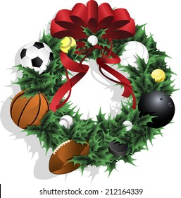 Illustration of a Christmas sports wreath made of holly, red ribbon and various sport balls.