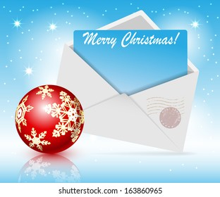 Illustration of Christmas toys and post envelope on a blue background. Vector.