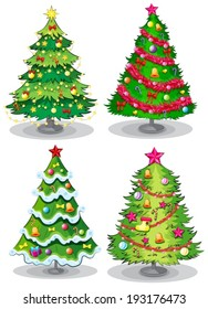 Illustration of the Christmas trees on a white background