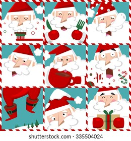 Illustration of Christmas and winter season. Set of Santa Claus in red costume with different emotions.