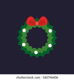 An illustration of Christmas wreath with red bow icon in flat style.