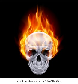 Illustration of chrome fire skull on black background.