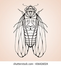 Illustration cicada  with boho pattern. Vector element for coloring prints,  T-shirts, tattoos