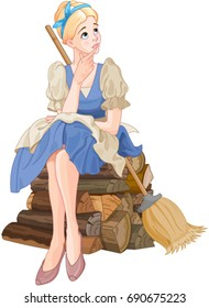 Illustration of Cinderella dreaming