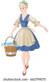 Illustration of Cinderella holds a bucket