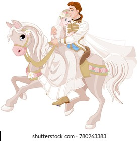 Illustration of Cinderella and Prince riding a horse after wedding