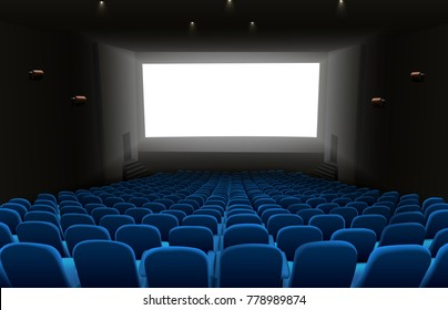 Illustration of Cinema auditorium with blue seats and blank screen