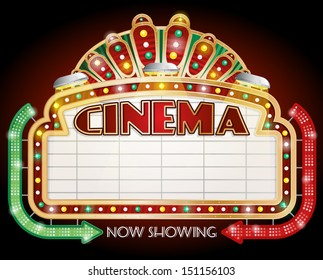 illustration of a Cinema sign with two arrows.
