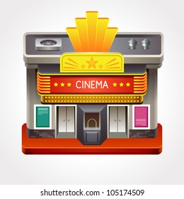 Illustration of cinema theater or movie house.