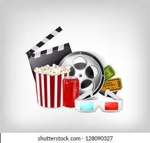 Illustration with cinema theme including movie roll, tickets, 3d glasses and popcorn