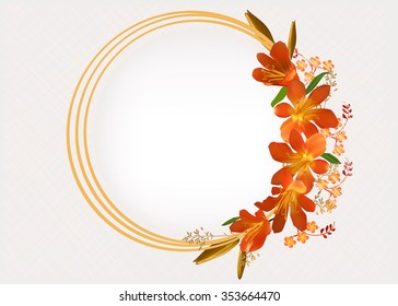 illustration with circle frame decorated by orange flowers