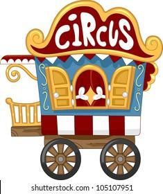 Illustration of a Circus Caravan