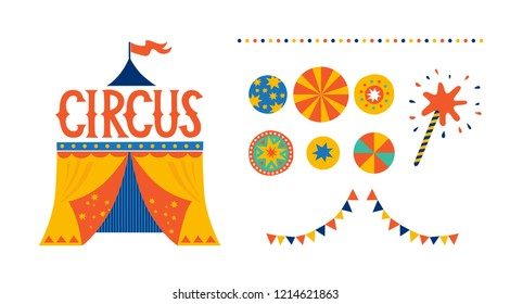 Illustration of a circus tent in cartoon style with hand drawn inscription Circus. Vector illustration. For nursery, invitations to a children's party, prints on fabric