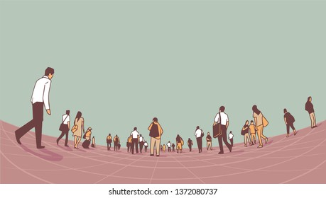 Illustration of city crowd walking on platform from low angle perspective