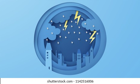 illustration of the city has overcast sky and lightning in the rainy season. Cityscape with rain. rainy season. paper cut and craft style. vector, illustration.