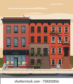 Illustration of a city landscape with townhouses. Brooklyn street view. Flat art style. Housing, real estate market, architecture design, property investment concept banner.